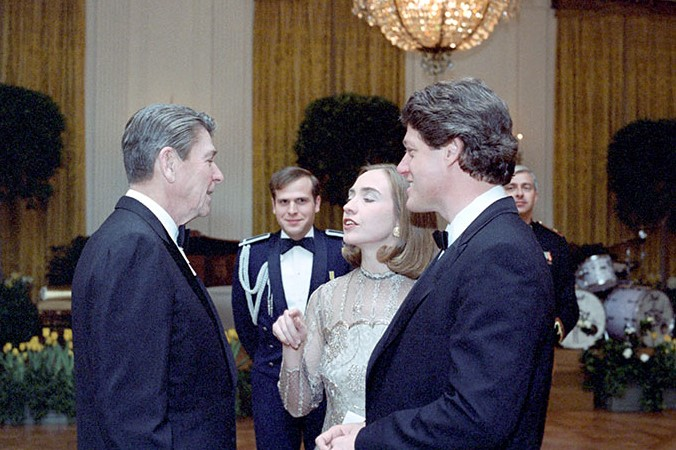President Reagan with Bill Clinton and Hillary Clinton at a dinner in Honor of State Governors in the East Room 1983