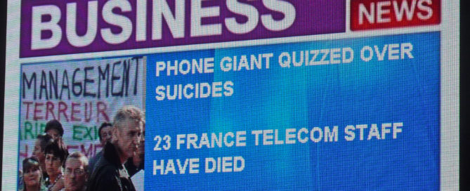 News story reporting on France Telecom worker suicides