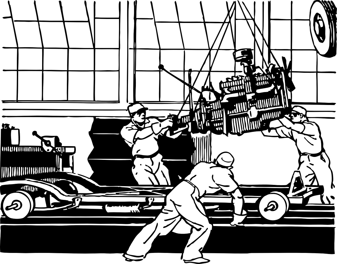 Automobile assembly line workers