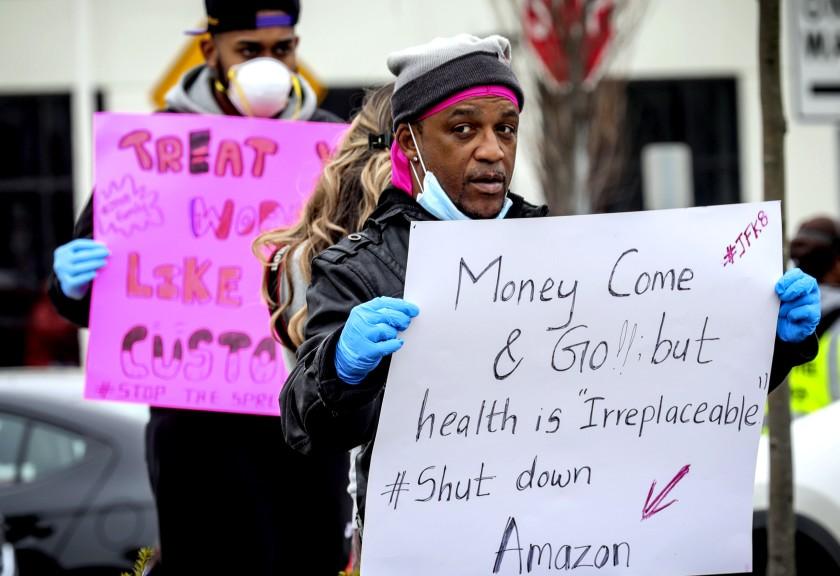 COVID protest at Amazon warehouse
