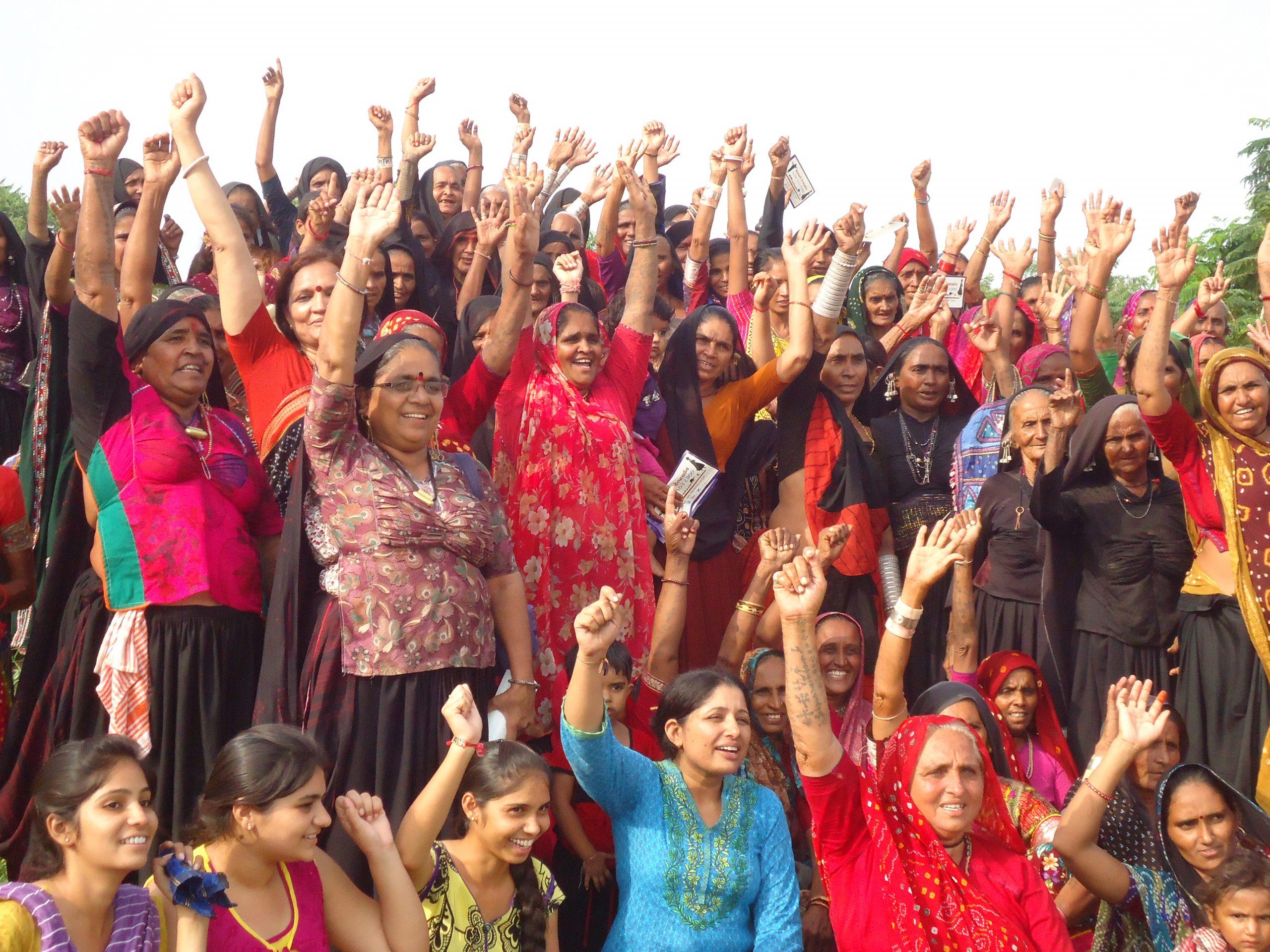 Meeting of Maldhari pastoralist women to protest against loss of grazing land to investment areas, Gujarat State, India (Photo Credit: MARAG/ Neeta Pandya).